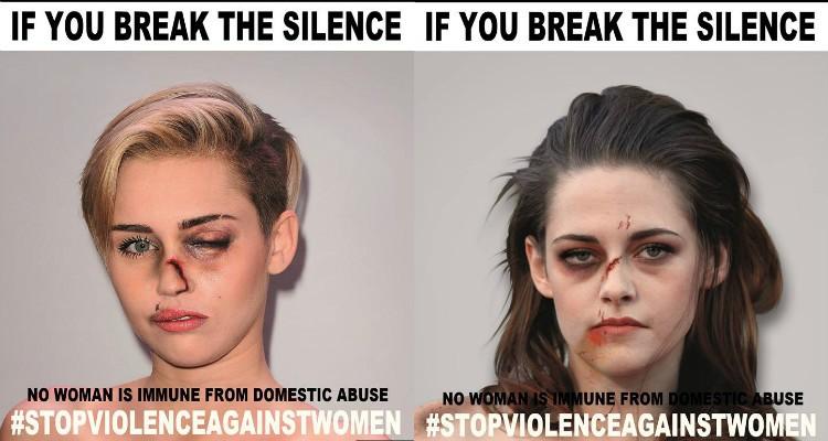 Celebridades 'transformadas' para campanha contra a violência doméstica