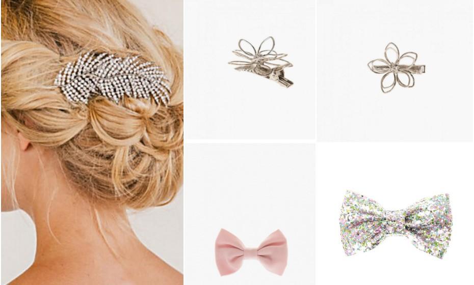 Os clips para cabelo são intemporais e facilmente se adequam a qualquer ocasião. Pode optar por algo mais clássico para um casamento ou algo mais colorido e divertido para o dia-a-dia. A escolha é sua! Na imagem: Light in the box, Claire's e Parfois.