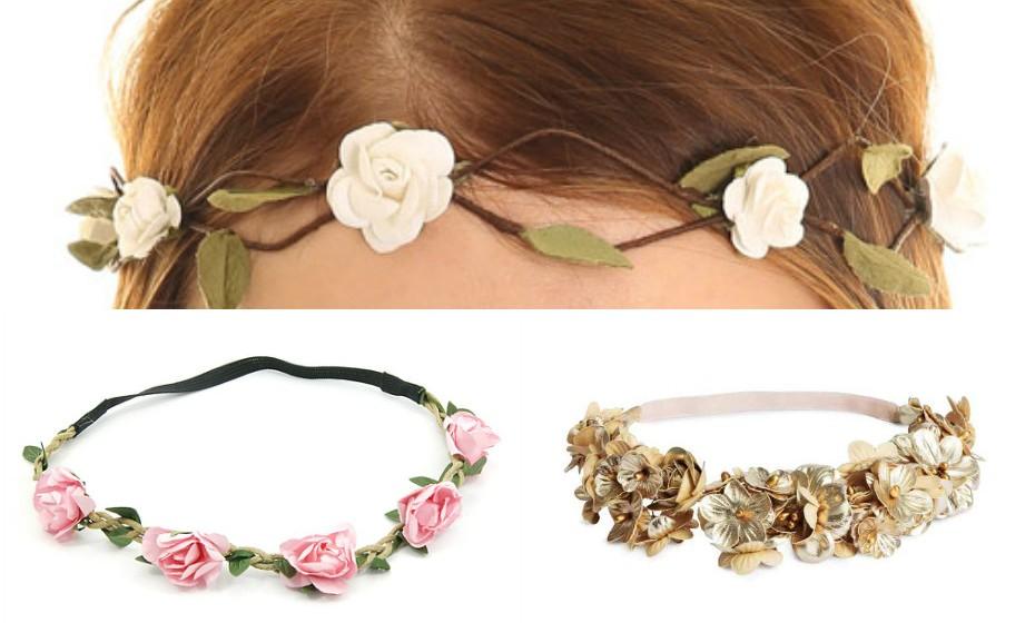 Adorne o seu cabelo com flores. Existe no mercado muita variedade para a fazer sentir-se romântica e próxima da natureza. Na imagem: Bijoulux, Claire's e H&M.