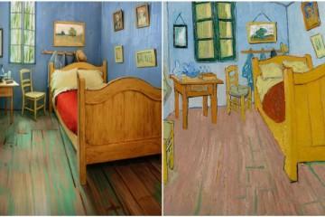 Foto: Quarto Airbnb e pintura de Vang Gogh.