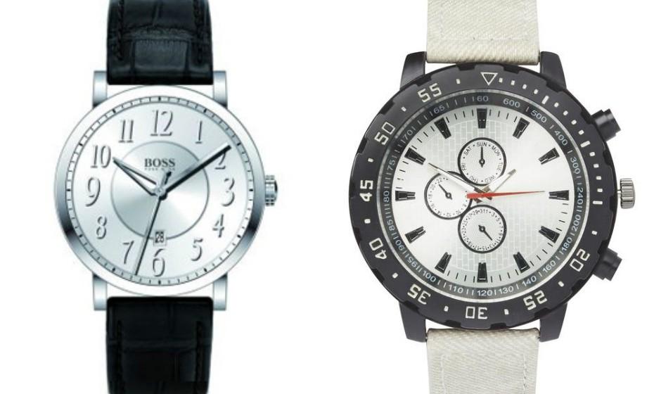 E porque não um relógio? O primeiro é uma sugestão mais cara (Hugo Boss), mas pode optar por algo mais acessível como o segundo (Primark).