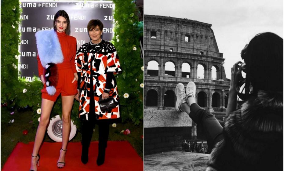 Kendall Jenner visitou recentemente Roma, Itália, com a sua mãe, Kris Jenner, para a inauguração do 'Palazzo Fendi'.
