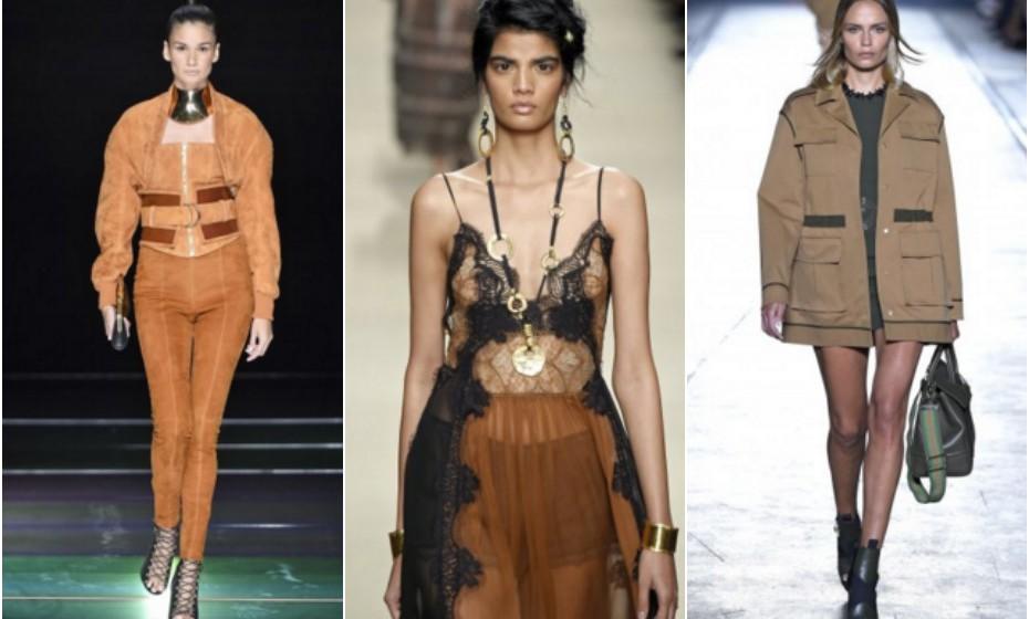 Tons terra – Balmain, Alberta Ferreti e Versace.
