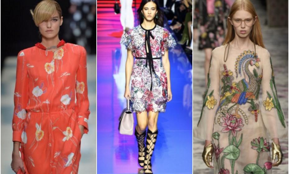 Flores – Armani, Elie Saab e Gucci.