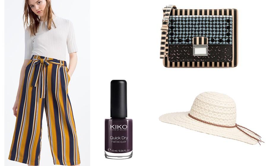 As culottes são um tendência que vieram definitivamente para ficar. Na imagem: culottes Zara, chapéu Primark, mala Bimba y Lola e verniz Kiko.
