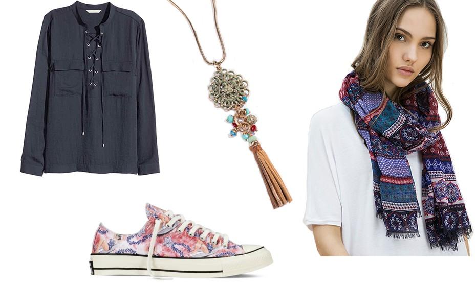 Um look descontraído e feminino, sempre prático na primavera. Na imagem: colar Lanidor, camisa  H&M, sapatilhas Converse e lenço Bershka.