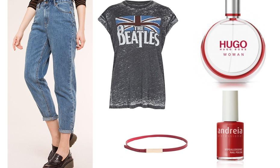 Nesta primavera, use e abuse das calças de cintura subida. Na imagem: calças da Pull&Bear, t-shirt Primark, perfume Hugo Boss, cinto Lanidor e verniz Andreia.