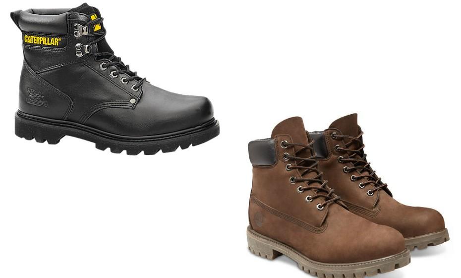 As botas de cano alto deste género são indicadas para os pais mais aventureiros. Na imagem: Cat e Timberland.