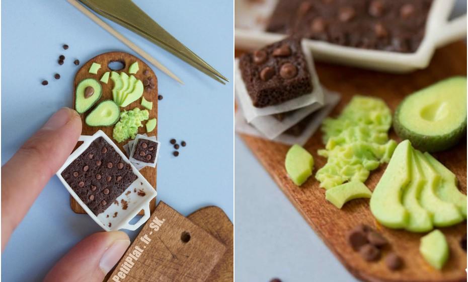 Miniaturas que Stépanhie criou para ilustrar a receita de brownies vegan de abacate publicada no seu blog.