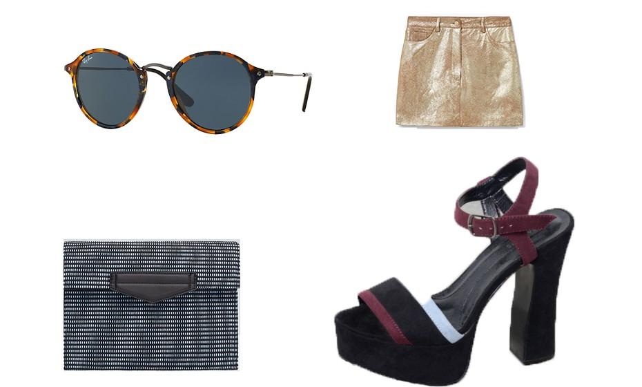Nesta estação vale tudo! Na imagem: óculos  Ray Ban, saia  Mango, sandálias Parfois e carteira Blanco.