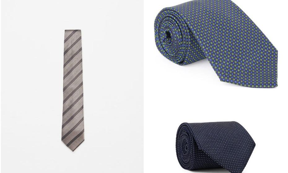 Este é um presente que nunca falha – uma gravata. Na imagem: Zara, Decenio e Gant.