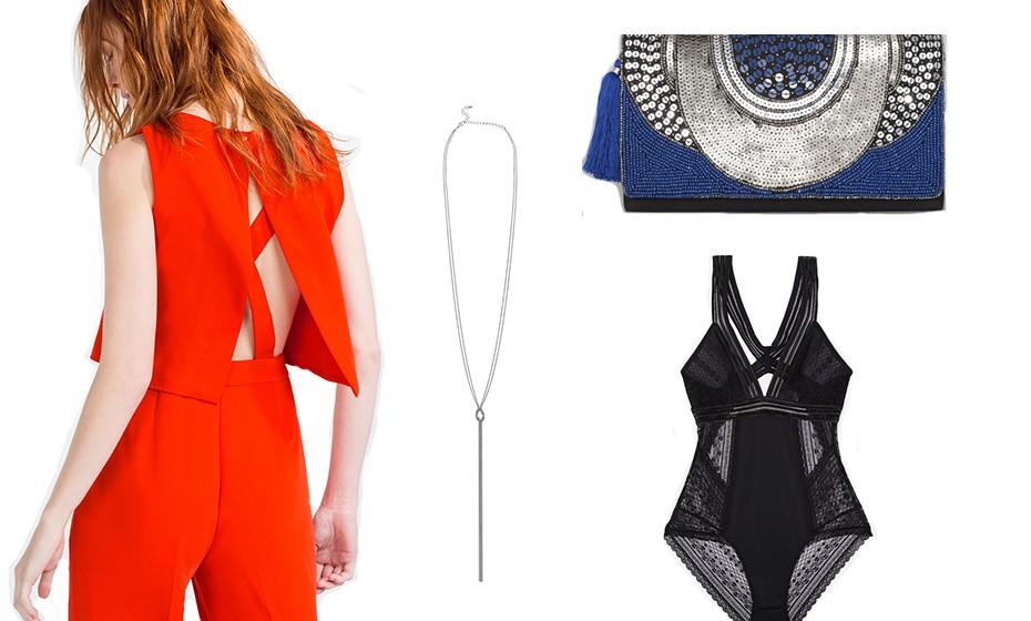 Vista algo com uma cor chamativa e vibrante como este macacão da Zara. Na imagem: colar Primark, body Oysho e pochete Blanco.