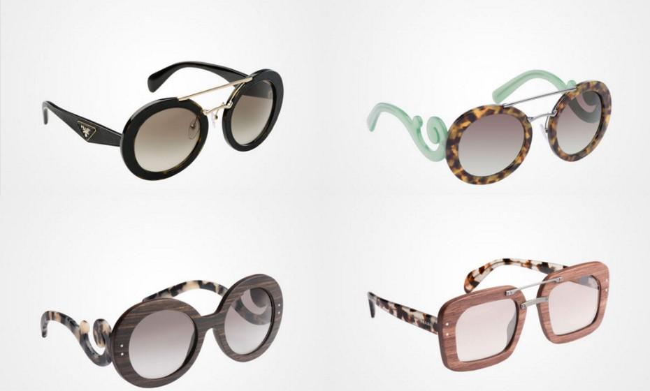 Para fugir aos típicos óculos neutros com um corte clássico, a Prada criou uma linha bem original.