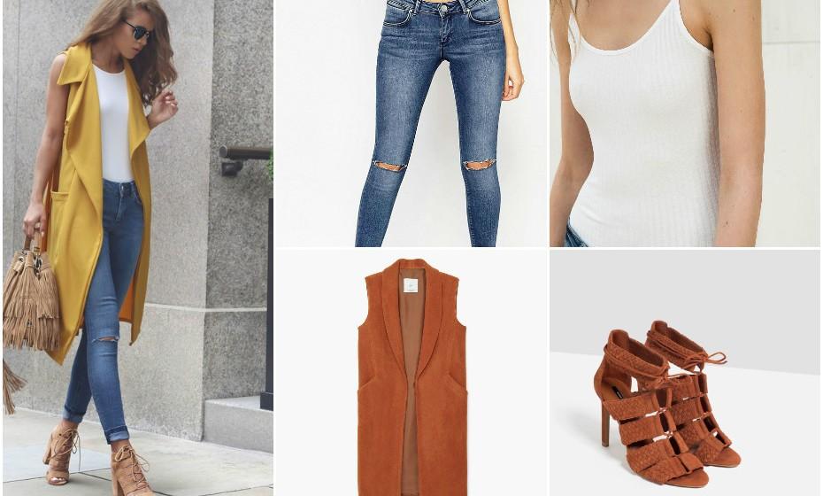 Look1 - Calças Missguided, body Bershka, sapatos Zara e colete Mango.