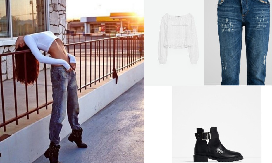Sara Sampaio - Calças Pull&Bear, camisola e botas Zara.