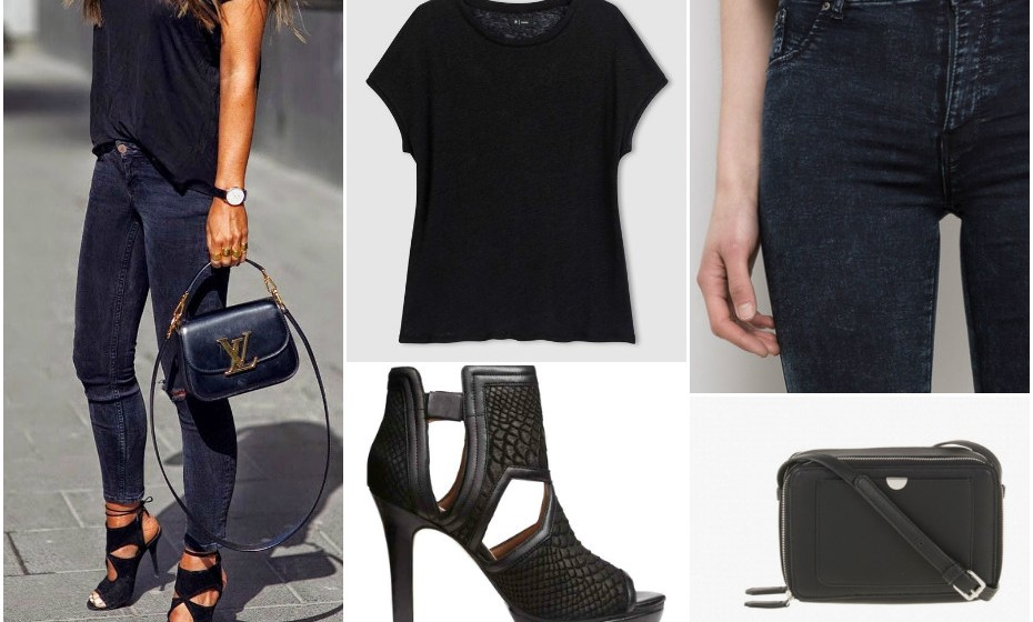 Look 4 -T-shirt La Redoute, calças Pulll&Bear, mala Parfois e sapatos H&M.