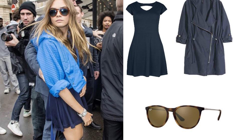 Cara Delenvigne – Óculos Ray-Ban, vestido Primark e casaco H&M.