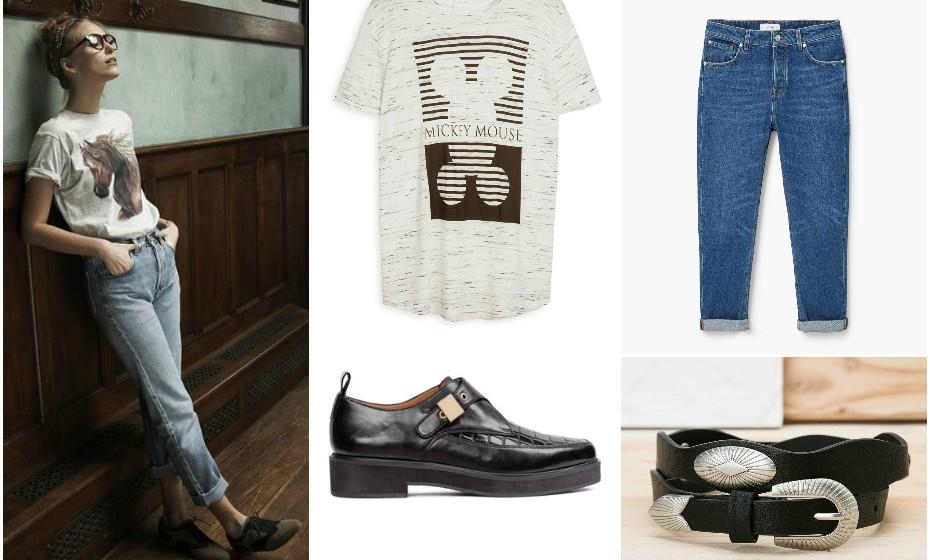Look 5 - Calças Mango, cinto Bershka, sapatos H&M e t-shirt Primark.