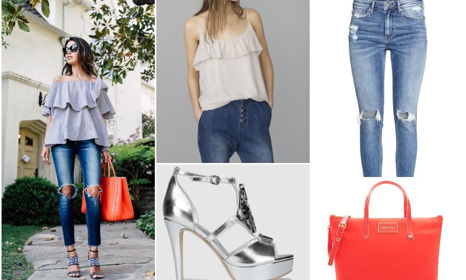 Look 7 - Mala Bimba y Lola, sapatos Eureka, top Modalfa e calças H&M. Fotos: Marcas e Pinterest