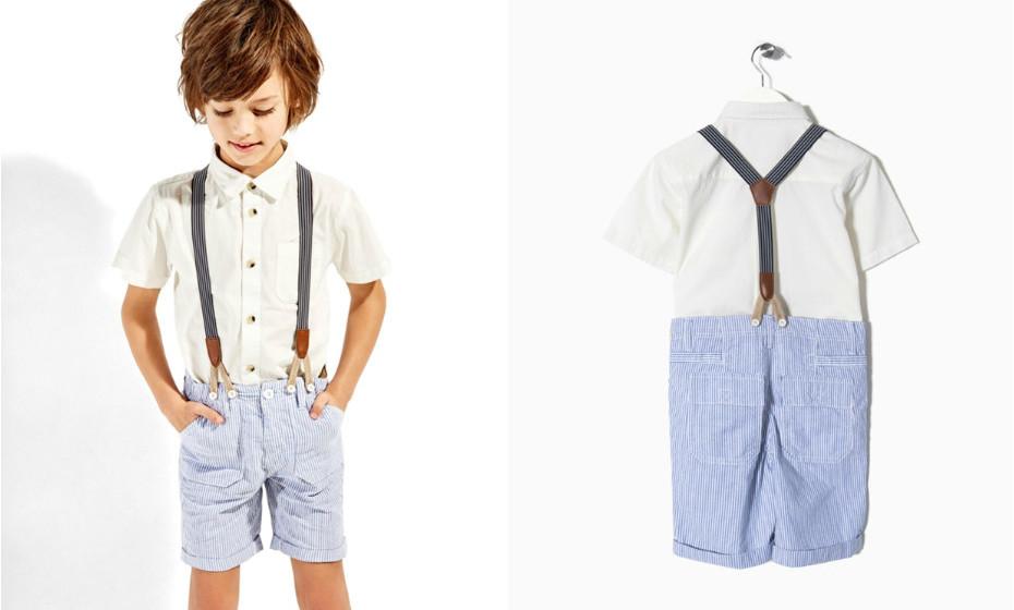 Conjunto camisa e calções com suspensórios para rapaz da Zippy.