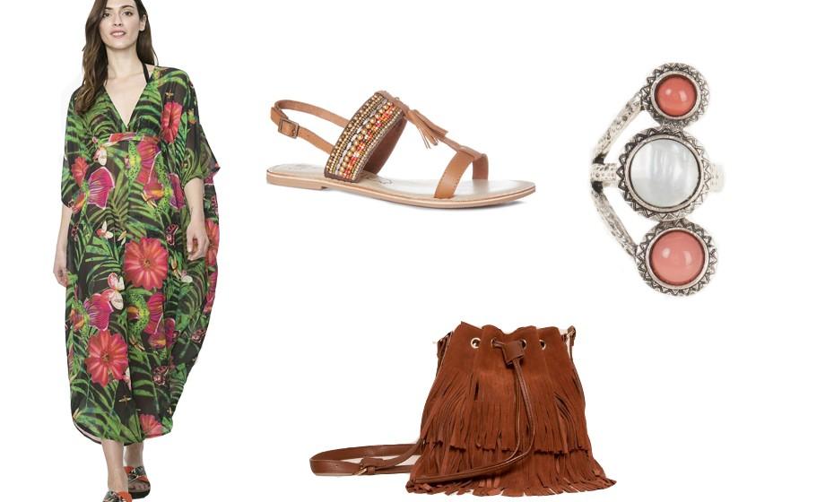 A grande tendência nos festivais de verão são os maxi dresses. Dá para se movimentar à vontade e mantém-se muito feminina. Na imagem: vestido Desigual, anel Parfois, sandálias Primark e mala Pull&Bear.