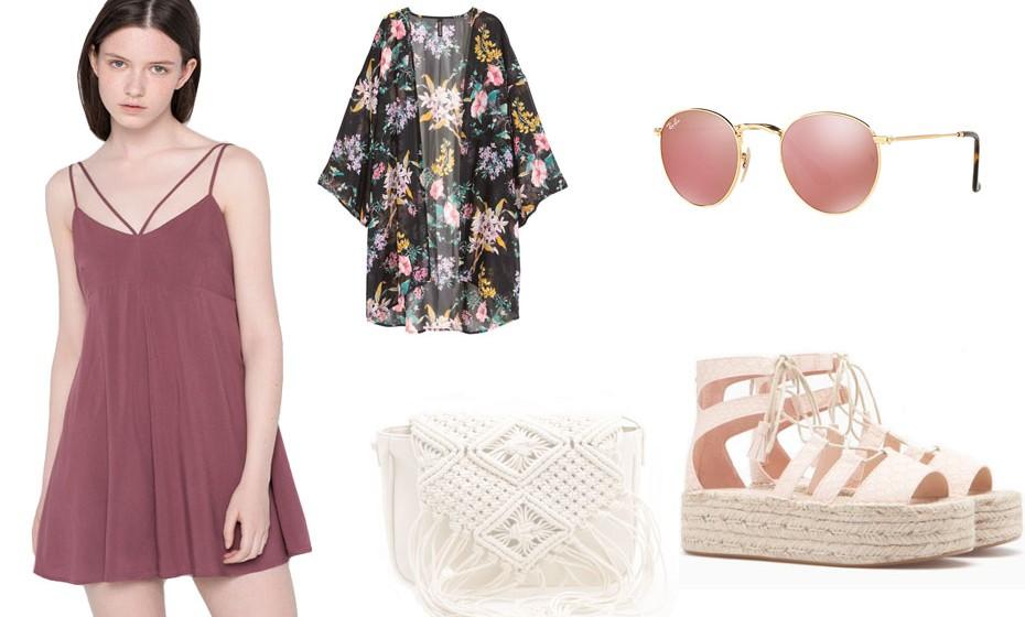 Um look amoroso e romântico para os dias quentes de verão. Na imagem: vestido Pull&Bear, sandálias e mala Stradivarius, quimono H&M e óculos Ray-Ban.