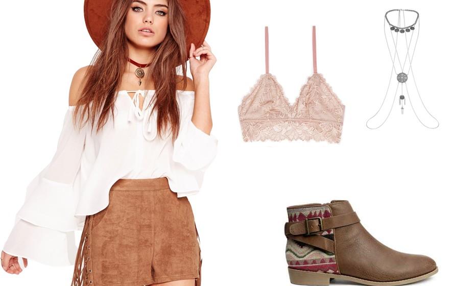 Franjas, renda, colares grandes, chapéu… fazem o outfit festivaleiro perfeito. Na imagem: look Asos, botas H&M, colar Primark e soutien Oysho.