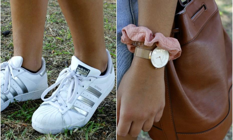As sapatilhas de Inês são da Adidas, a mala da Zara e o relógio da Skagen.