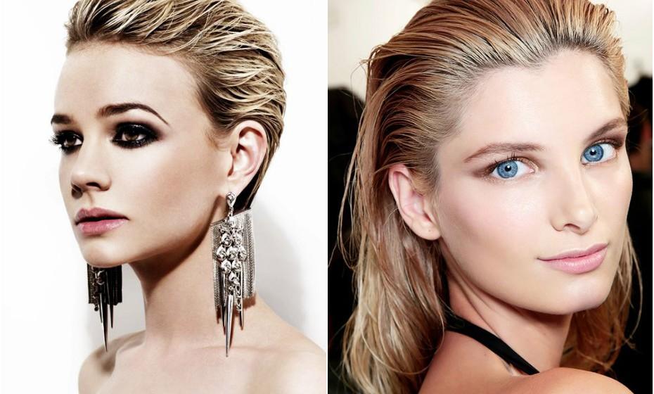 'Wet effect' ou 'efeito molhado' é um penteado tendência a adotar definitivamente e adequa-se a qualquer comprimento de cabelo. Aplique o gel ou cera com parcimónia para não dar a impressão de cabelo oleoso.