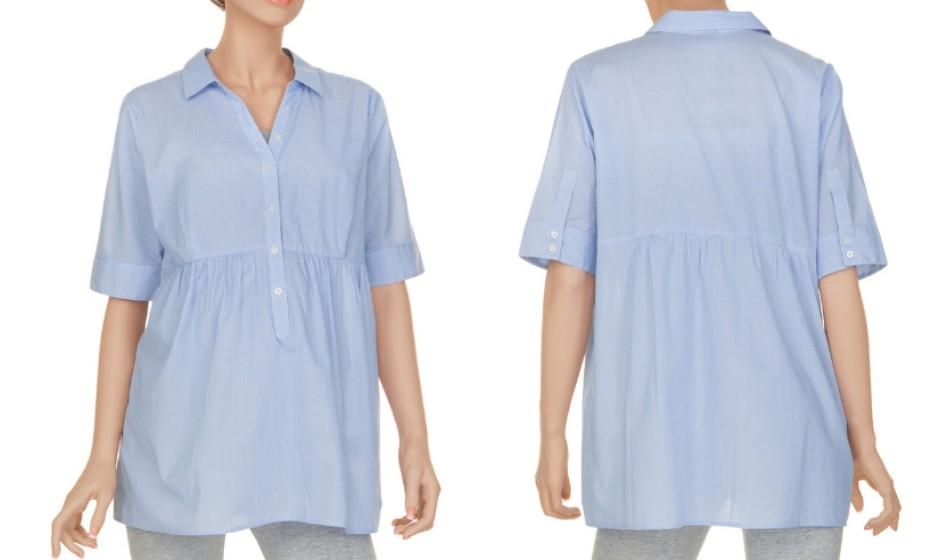 As camisas que se adaptam ao crescimento da barriga são excelentes opções para um look profissional e confortável. Na imagem: Pré Natal.