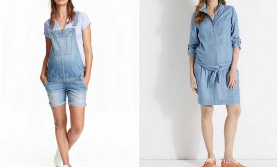 As peças de ganga estão muito em voga este verão. Pode optar por umas jardineiras que ficam super amorosas em qualquer grávida ou por um vestido como o da imagem. Marca: H&M e Vertbaudet.