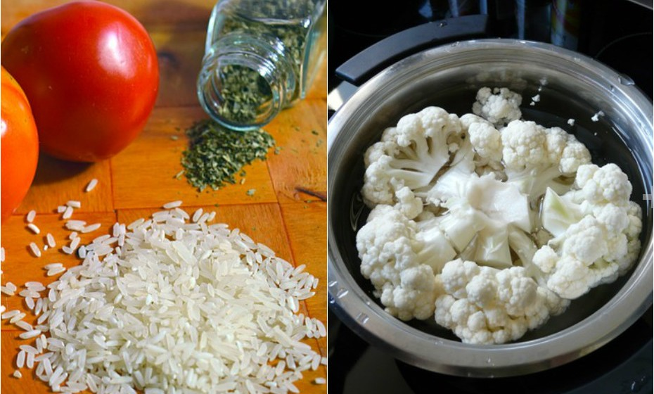 Substitua o arroz branco por arroz de couve-flor. Coloque couve-flor no processador até que ganhe a textura de arroz.