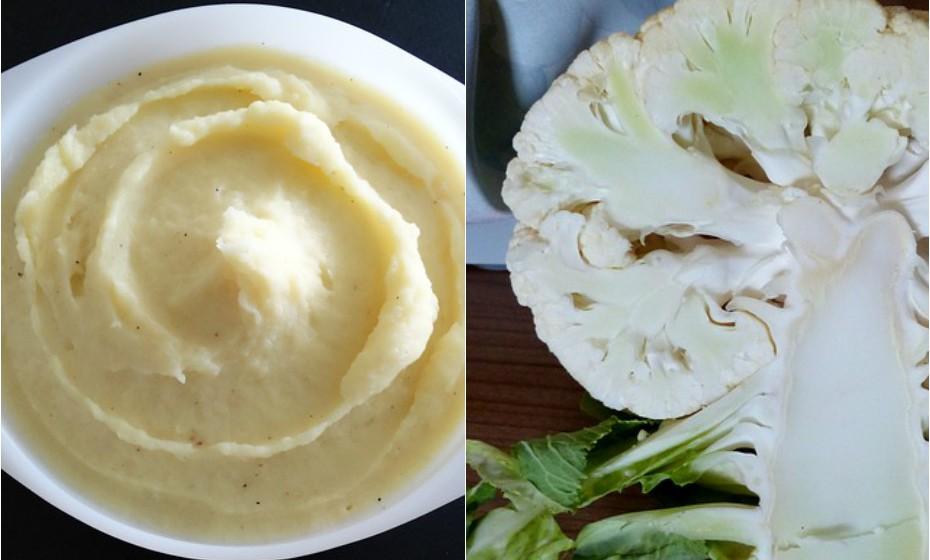 Substitua o calórico puré de batata por puré de couve-flor. Torne-o cremoso com leite de amêndoa, um bocadinho de manteiga vegetal, sal e pimenta e está pronto!
