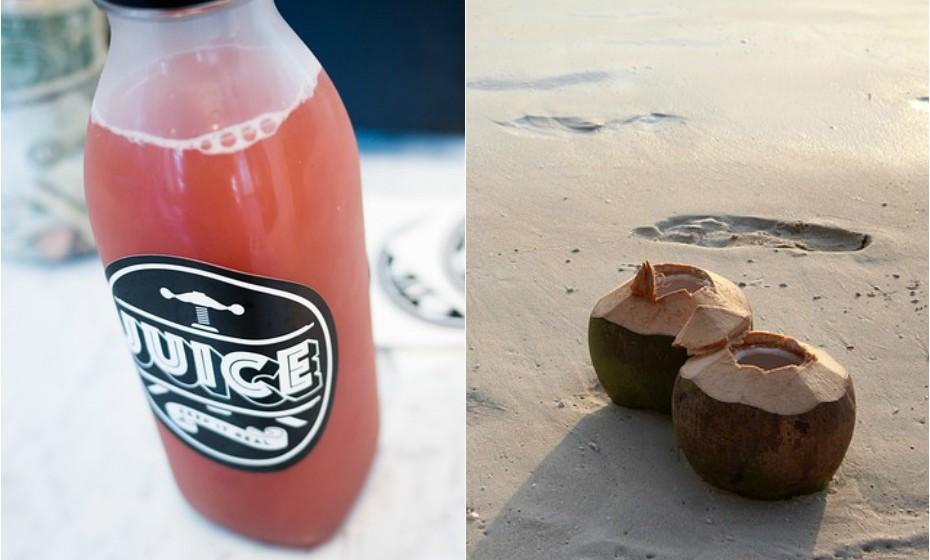A maioria dos sumos de fruta estão carregados de açúcar adicionado. Experimente água de coco, é rica em potássio e eletrólitos.