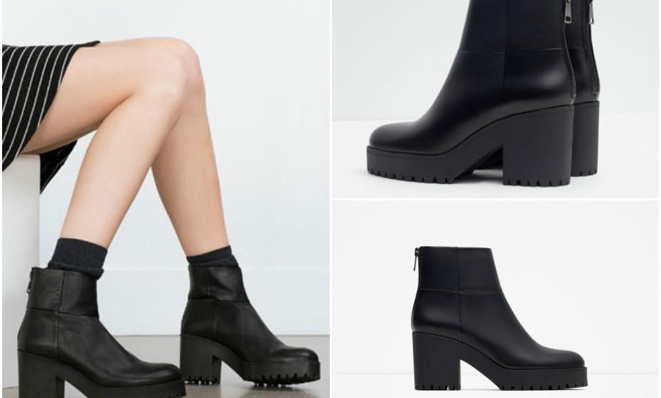 Pense já na estação fria que aí vem e aposte numas botas. Encontrámos estes botins de pele na Zara, lindos e a um preço muito, muito acessível – 12,99€.