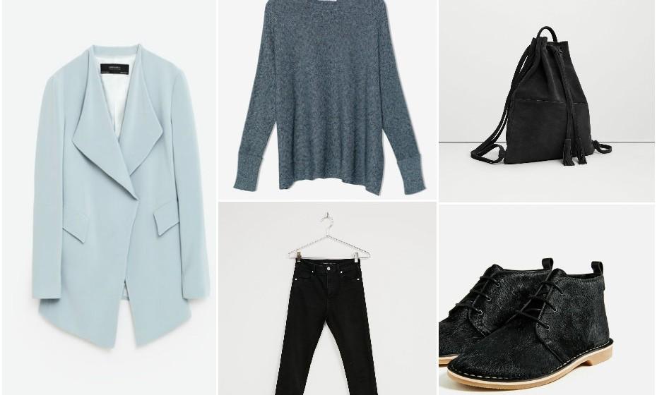 No caso de o seu local e tipo de trabalho permitirem looks mais descontraídos, eis um exemplo de um outfit que pode adotar. Na imagem: casaco e calçado Zara, camisola Pull&Bear, mala Mango, calças Bershka.