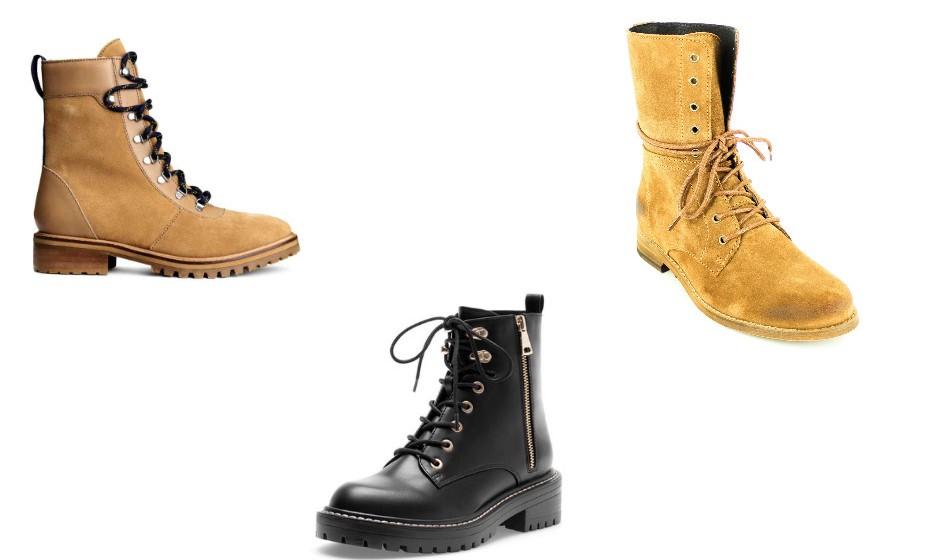 Para um look diário bem descontraído, estas botas com atacadores são a escolha ideal. Na imagem: H&M, Foreva e Stradivarius.