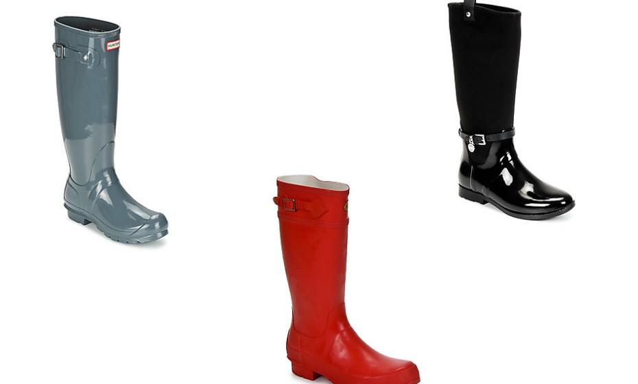 Inverno é sinónimo de frio, vento e chuva. Não há nada mais eficaz no combate à precipitação do que galochas. Na imagem:  Hunter, Michael Kors e Superga.