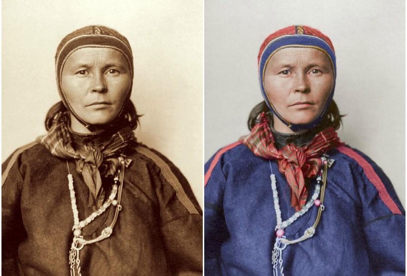"""""""Laplander"""", c. 1910 - Gákti é o traje tradicional do povo sami que habita as regiões árticas, que vão desde o norte da Noruega à península de Kola, na Rússia."""