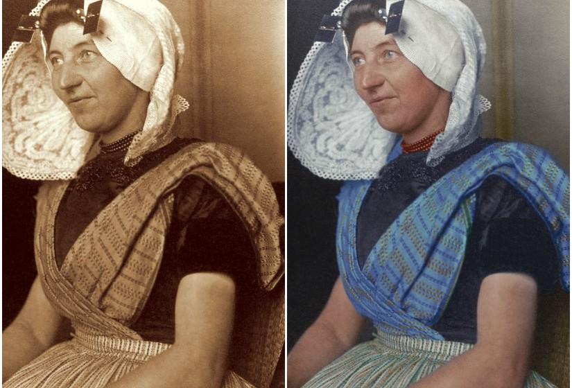 """""""Dutch Woman"""", c. 1910 - Esta espécie de chapeú é, sem dúvida, um dos elementos tradicionais mais reconhecidos do traje holandês. (Fotos: Dynamichrome)"""
