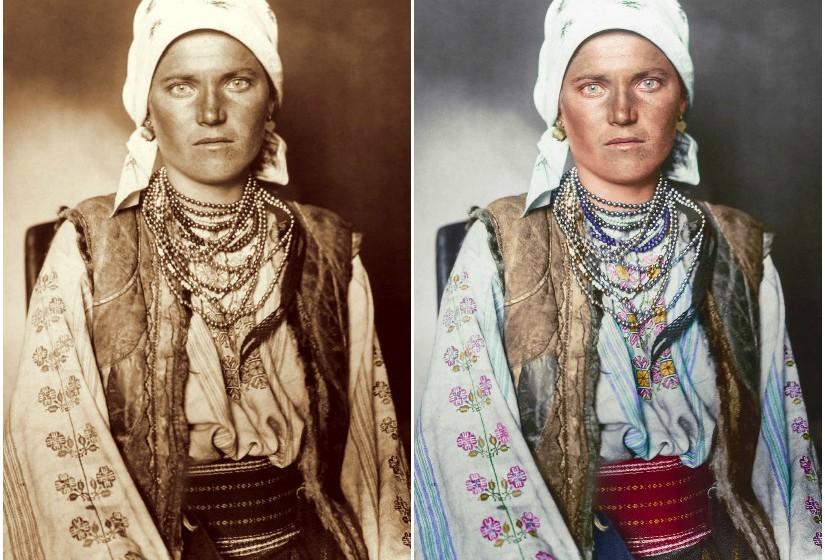"""""""Ruthenian Woman"""", 1906 - Este é um exemplo do vestido tradicional Ruthenian que consistia numa camisa e uma saia feita de linho bordada com padrões florais tradicionais. O casaco sem mangas é feito a partir de pele de carneiro."""