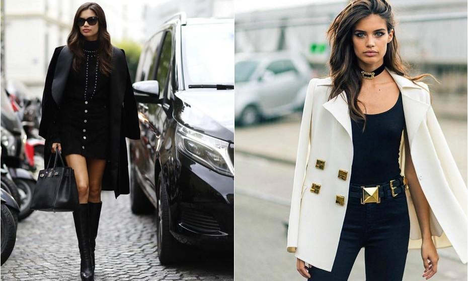 Sara gosta de vestir peças justas ao corpo e completar com um casaco largo, mas elegante, por cima dos ombros.