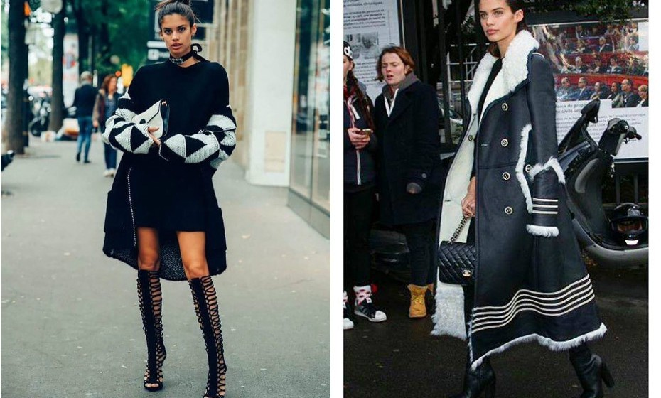 A modelo é definitivamente fã de casacos grandes e compridos que tenham pormenores em branco para dar alguma luz a este tipo de looks.  (Fotos: IMDB e Facebook)