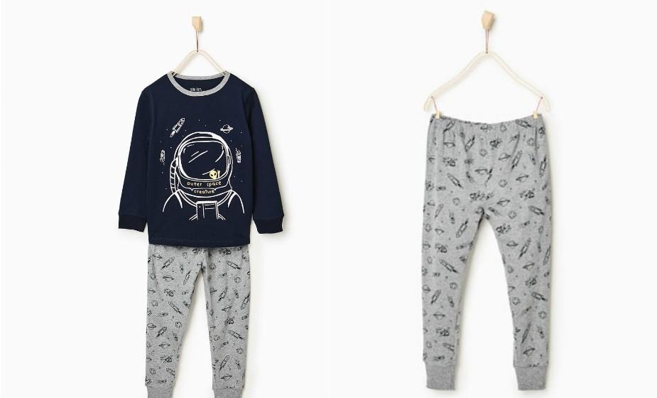 Se o seu filho vir este pijama não vai querer largá-lo. Este conjunto tem uma particularidade muito engraçada: os desenhos da camisola brilham no escuro. Na imagem: Zara.