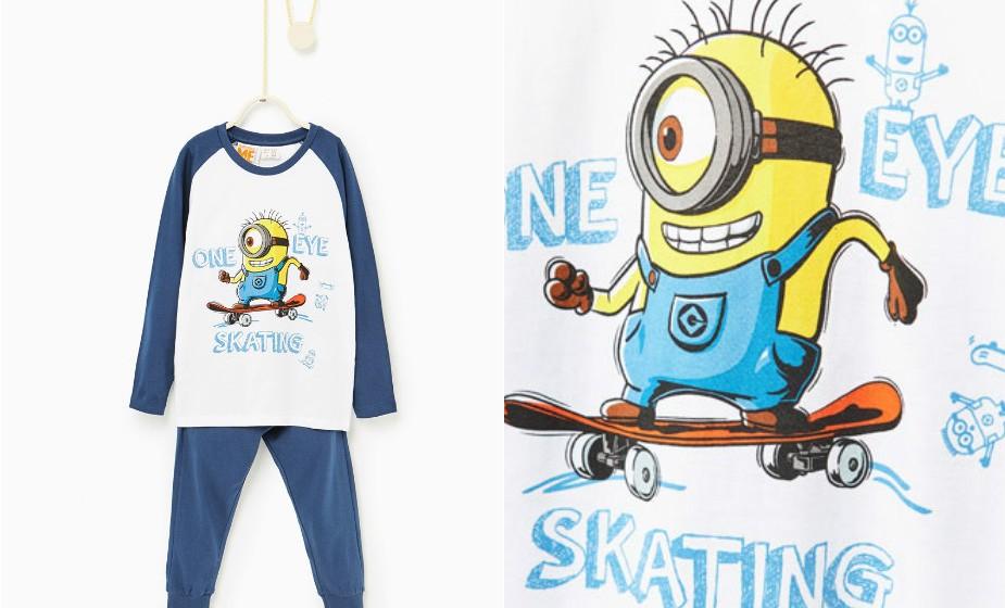 Quem não gosta deste bonecos malucos e amarelos? Um pijama dos Minions da Zara.