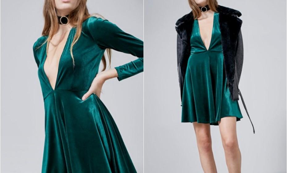 Um vestido de veludo para uma festa mais elegante. (Look Stradivarius)