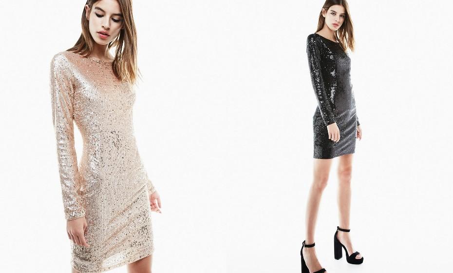 Se quer dar mesmo nas vistas, opte por um vestido de lantejoulas e também justo ao corpo. (Look Bershka).