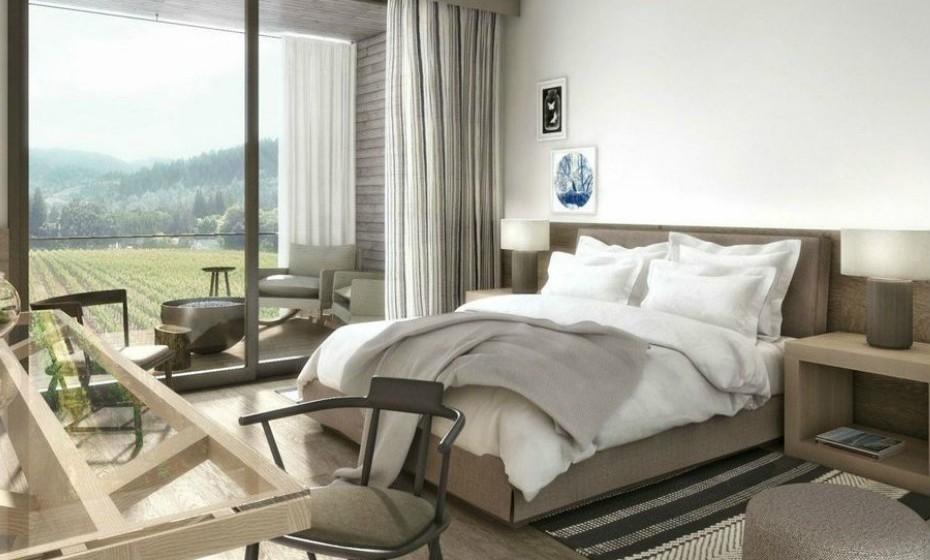 5. Las Alcobas Napa Valley, um resort de luxo nos EUA, abre ainda este mês. Este resort histórico, idealmente localizado no coração de Santa Helena, possui 68 quartos e suites, a maioria com um belo terraço ao ar livre e vista para as vinhas.