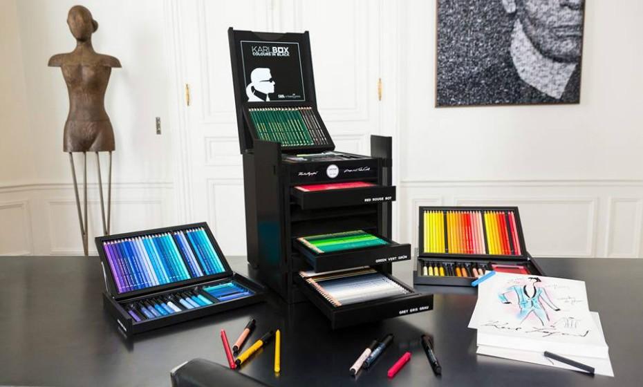 Karlbox é simbolo de um relaciomento de longa data entre o designer criativo da Chanel e a marca alemã. Os produtos estão à venda exclusivamente nas lojas oficiais da Faber-Castell e nas boutiques de Lagerfeld.