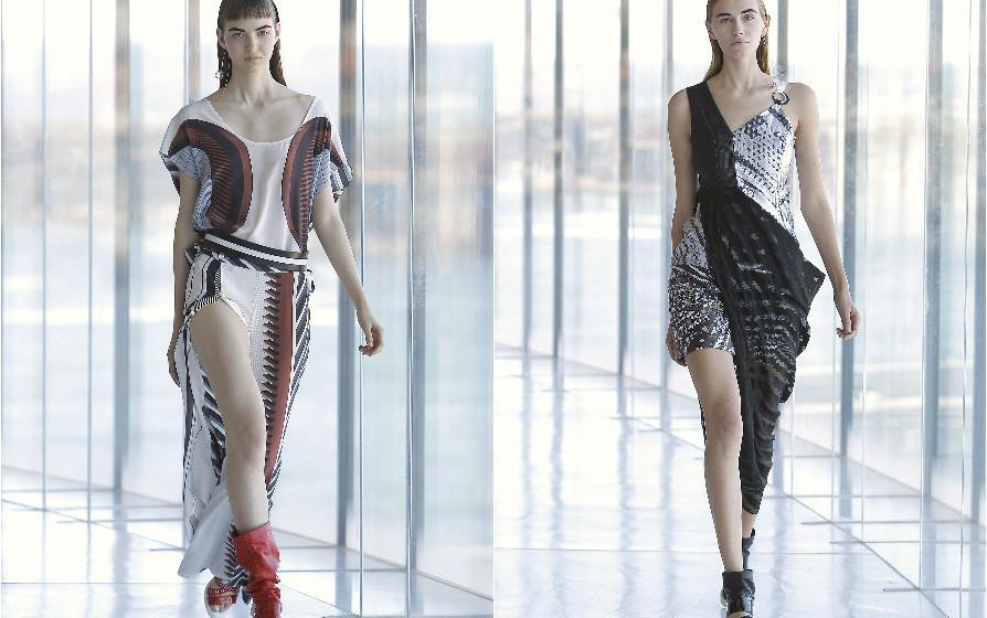 Luís Buchinho: Seguindo uma influência sportswear, a coleção afirma-se através de uma linha gráfica marcada, trabalhada em silhuetas anatómicas.